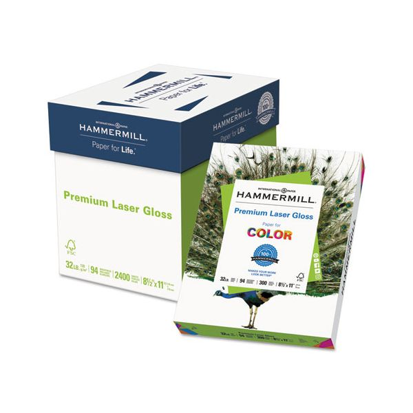 Hammermill Color Laser Gloss Paper, 94 Brightness, 32 lb, 8 1/2 x 11, White, 300 Sheets/Pack