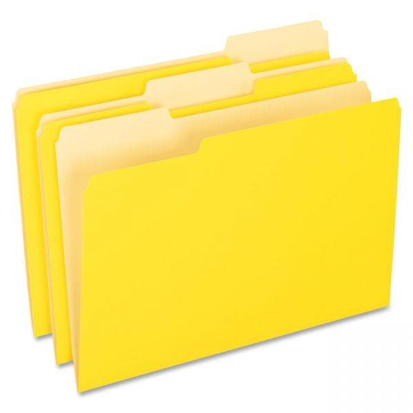 Pendaflex Colored File Folders, 1/3 Cut Top Tab, Legal, Yellow, Light Yellow, 100/Box