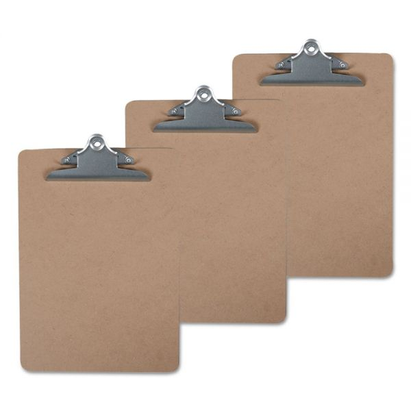 "Universal Hardboard Clipboard, 1"" Capacity, 8 1/2 x 11, Brown, 3/Pack"