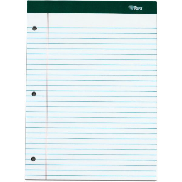 TOPS Double Docket Ruled Pads, 8 1/2 x 11 3/4, White, 100 Sheets, 6 Pads/Pack