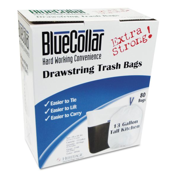 BlueCollar Drawstring 13 Gallon Trash Bags