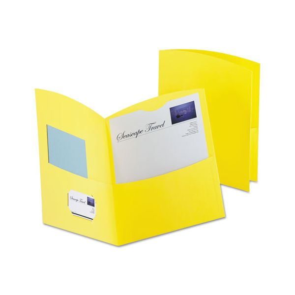 Oxford Contour Two-Pocket Recycled Paper Folder,  100-Sheet Capacity, Yellow, 25/Box