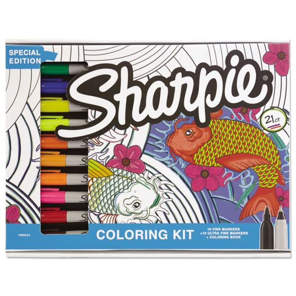 Sharpie Adult Coloring Kit, Aquatic Theme Coloring Book with 20 Markers