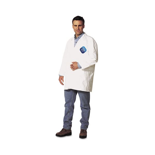 DuPont Tyvek Lab Coat, White, Snap Front, 2 Pockets, X-Large, 30/Carton