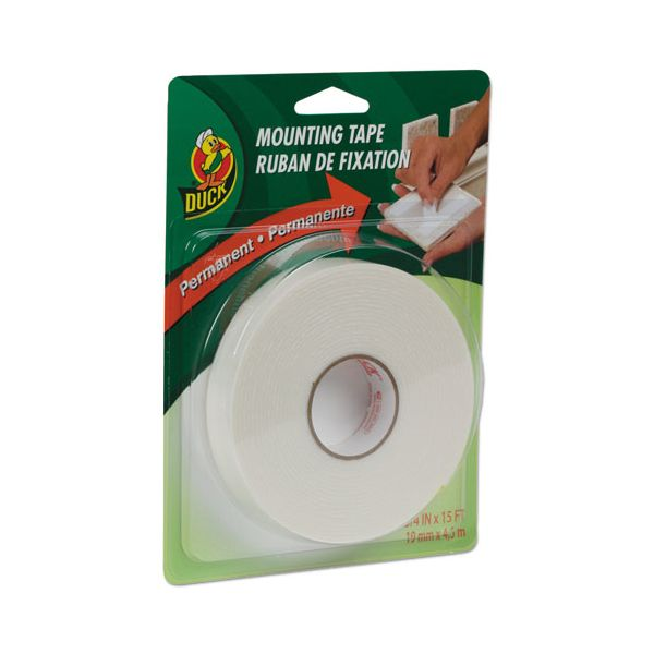 """Duck Permanent Foam Mounting Tape, 3/4"""" x 15ft, White"""