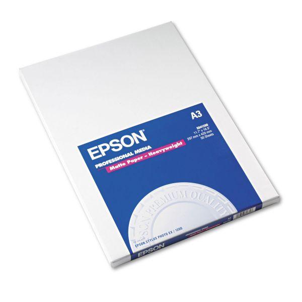 Epson Premium Matte Presentation Paper, 45 lbs., 11-3/4 x 16-1/2, 50 Sheets/Pack