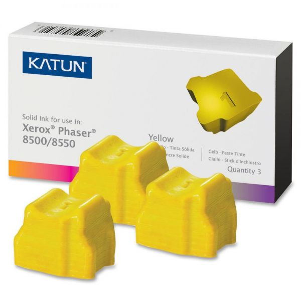 Katun KAT37985 Phaser 8500 Compatible, 108R00671 Solid Ink, 3000 Yld, 3/Box, Yellow