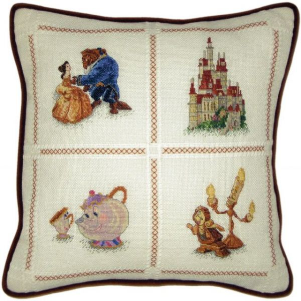 MCG Textiles Beauty And The Beast Pillow Counted Cross Stitch Kit