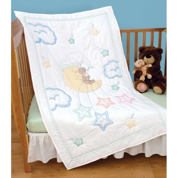 Jack Dempsey Stamped White Quilt Crib Top
