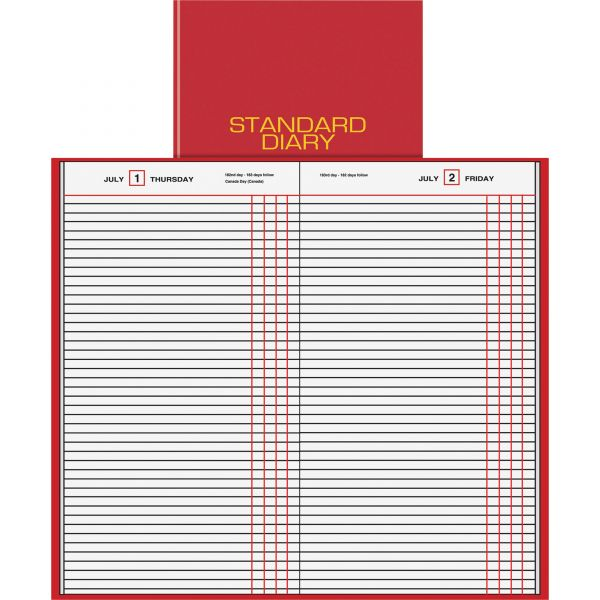 AT-A-GLANCE Standard Diary Recycled Daily Journal, Red, 7 11/16 x 12 1/8, 2019
