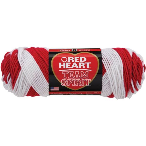 Red Heart Team Spirit Yarn - Red/White