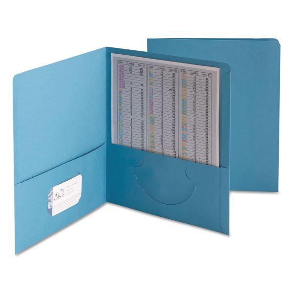 Smead Two-Pocket Folder, Embossed Leather Grain Paper, Blue, 25/Box