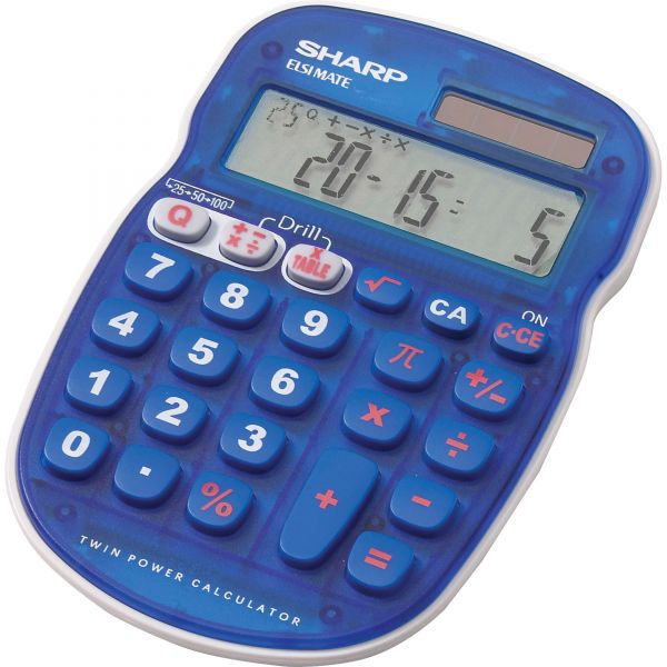 Sharp Calculators EL-S25B-BL 10-Digit Handheld Math Quiz Calculator