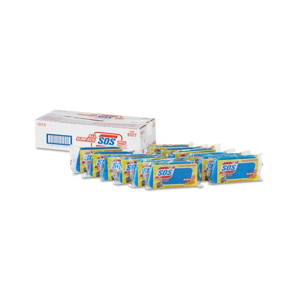 """S.O.S. All Surface Scrubber Sponge, 2 1/2 x 4 1/2, 1"""" Thick, Blue, 12/Carton"""