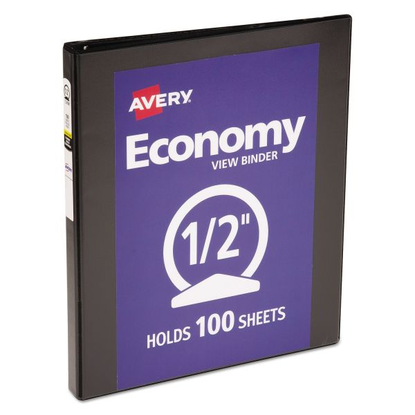 "Avery Economy 3-Ring View Binder, 1/2"" Capacity, Round Ring, Black"