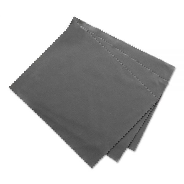 "Innovera Microfiber Cleaning Cloths, 6"" x 7"", Grey, 3/Pack"