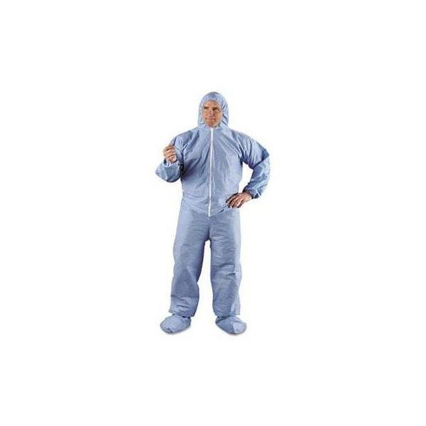 KleenGuard* A65 Hood & Boot Flame-Resistant Coveralls, Blue, 3X-Large, 21/Carton