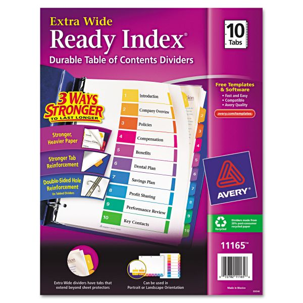Avery Ready Index Customizable Table of Contents, Asst Dividers, 10-Tab, 11 x 9 1/2