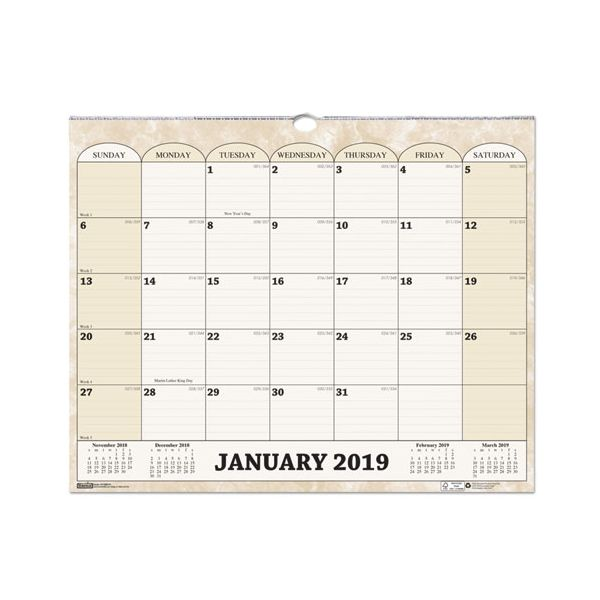 House of Doolittle Recycled Monthly Horizontal Wall Calendar, 14 7/8 x 12, 2019