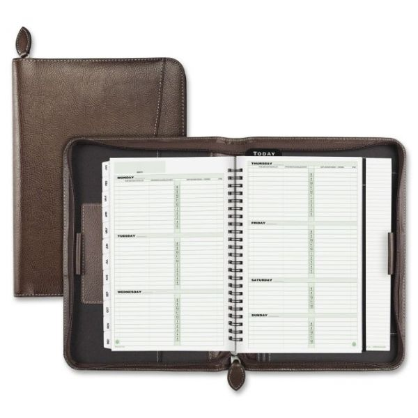 Day-Timer Green Series Basque Leather Wirebound Weekly/Monthly Organizer
