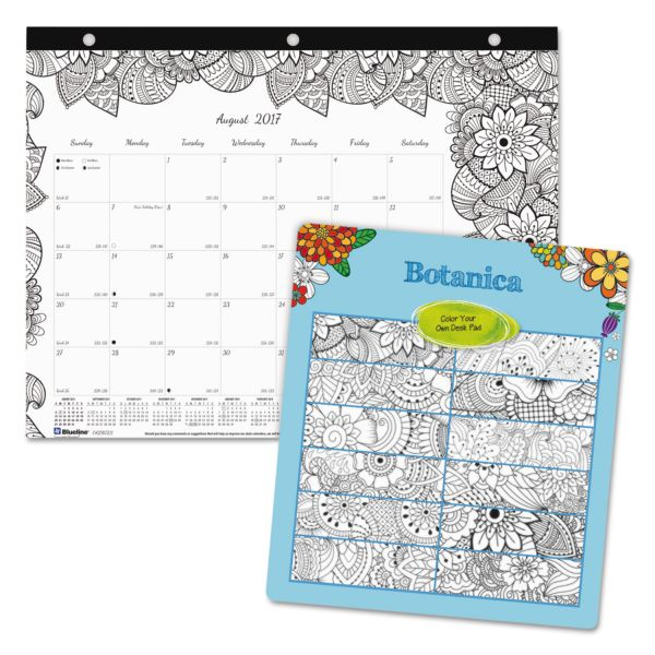 Blueline Academic DoodlePlan Mini Desk Pad Calendar w/Coloring Pages