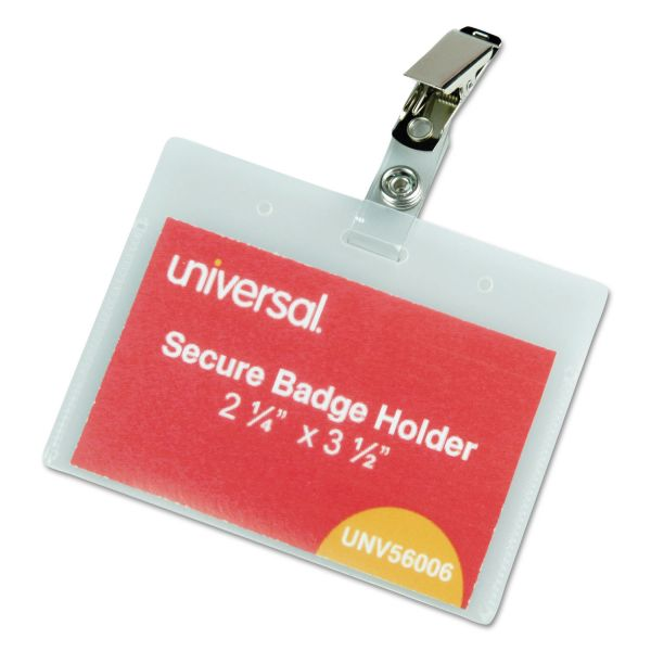 Universal Deluxe Clear Badge Holders w/Garment-Safe Clips, 2.25 x 3.5, White Insert, 50/BX
