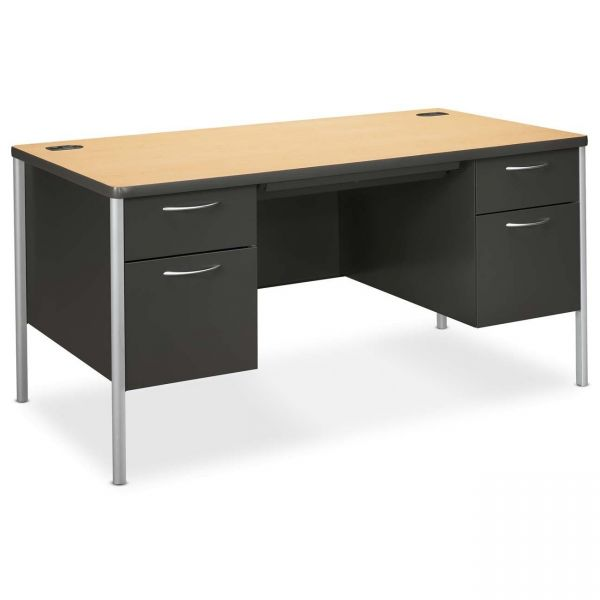 "HON Mentor Double Pedestal Desk | 2 Box / 2 File Drawers | Platinum Legs | 60""W"