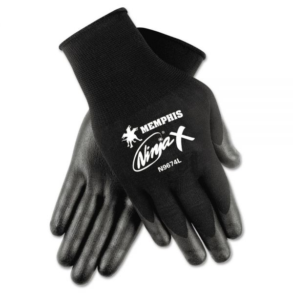 MCR Safety Ninja x Bi-Polymer Coated Gloves, X-Large, Black, Pair