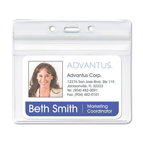 Advantus Resealable ID Badge Holder, Horizontal, 4 x 2 3/4, Clear, 50/Pack