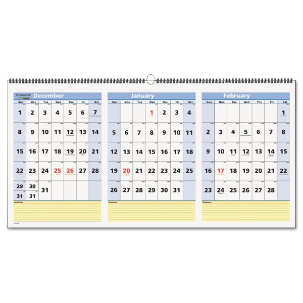 AT-A-GLANCE QuickNotes Three-Month Wall Calendar, Horizontal Format, 23 1/2 x 12, 2019