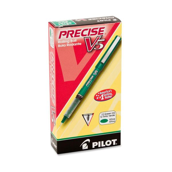 Pilot Precise V5 Roller Ball Stick Pen, Precision Point, Green Ink, .5mm, Dozen