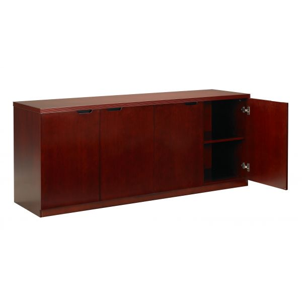 Mayline Luminary Series Wood Veneer Hinged Door Credenza, 72w x 20d x 29h, Cherry