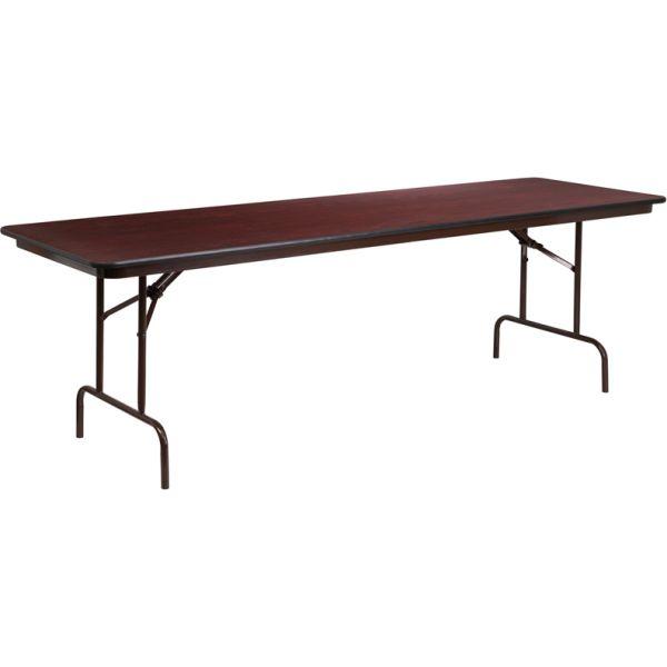 Flash Furniture 30'' x 96'' Rectangular Mahogany Melamine Laminate Folding Banquet Table