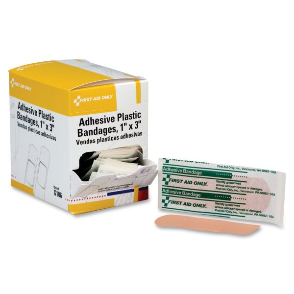 First Aid Only Plastic Adhesive Bandages,1 x 3, 100 per Box