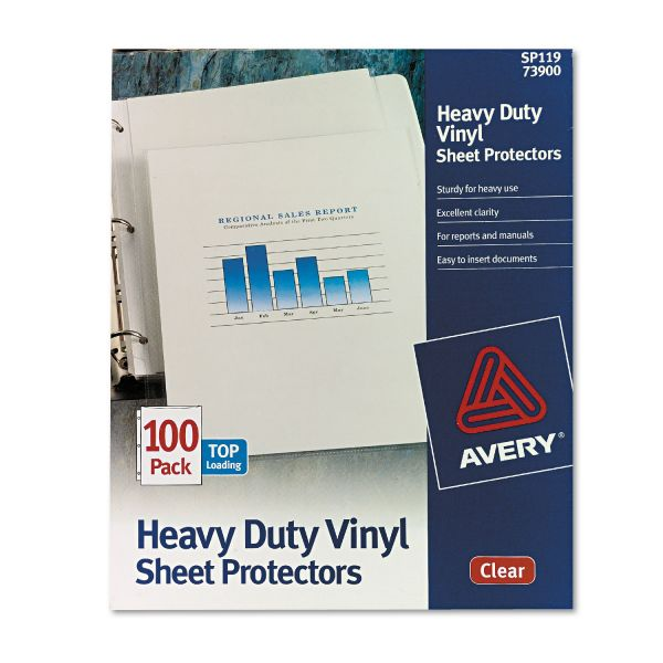 Avery Top-Load Vinyl Sheet Protectors, Letter, Heavy Gauge, Clear, 100/Box