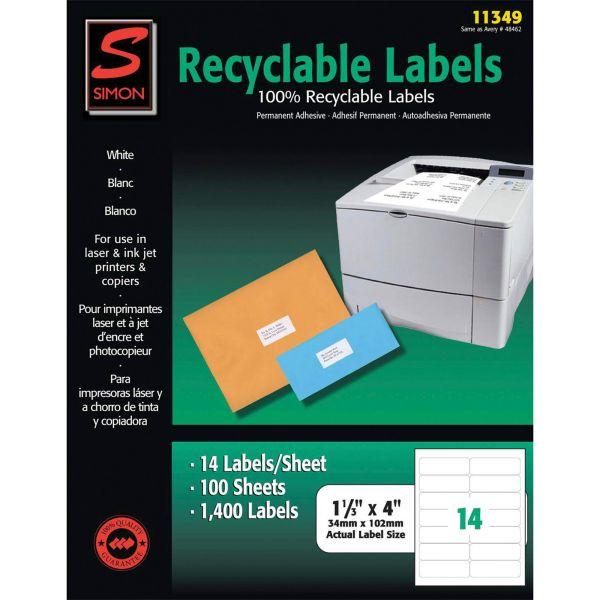 Simon SJ Paper Recyclable Laser/Ink Jet Labels