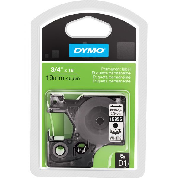 """DYMO D1 High-Performance Polyester Permanent Label Tape, 3/4"""" x 18 ft, Black on White"""