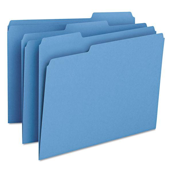 Smead File Folders, 1/3 Cut Top Tab, Letter, Blue, 100/Box