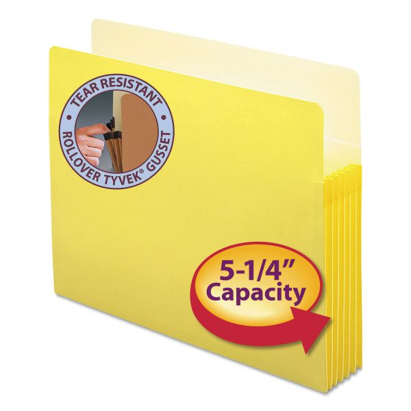 "Smead 5 1/4"" Exp Colored File Pocket, Straight Tab, Letter, Yellow"