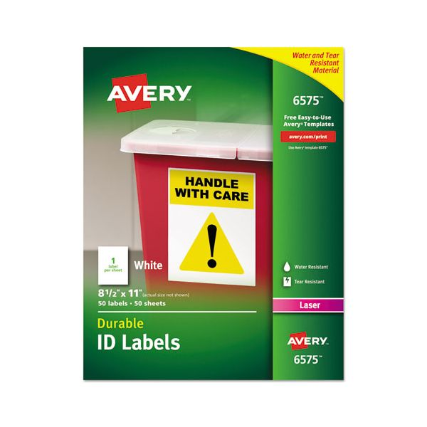 Avery Permanent ID Labels w/TrueBlock Technology, Laser, 8 1/2 x 11, White, 50/Pack