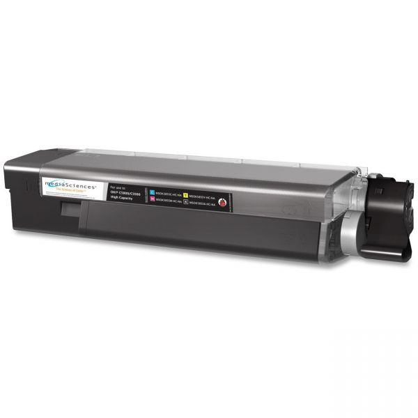 Media Sciences MSOK5855KHC Remanufactured 43324404 (Type C8) High-Yield Toner, Black