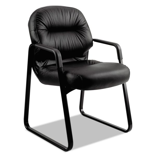 HON 2090 Pillow-Soft Series Leather Guest Arm Chair, Black