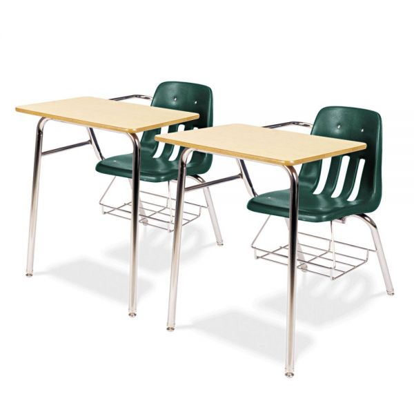 9400 Classic Series Chair Desks, Forest Green, Fusion Maple Laminate Top, 2/Ctn