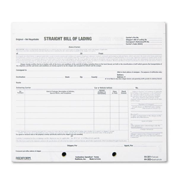 Rediform Bill of Lading Short Form, 7 x 8 1/2, Four-Part Carbonless, 250 Forms
