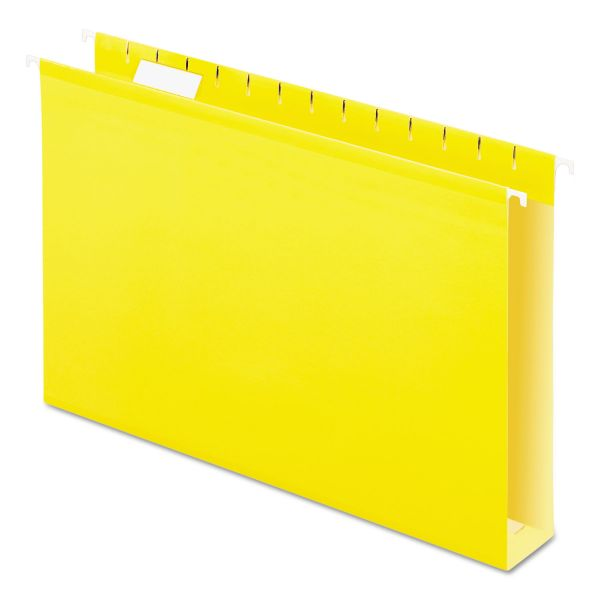 "Pendaflex Reinforced 2"" Extra Capacity Hanging Folders, 1/5 Tab, Legal, Yellow, 25/Box"