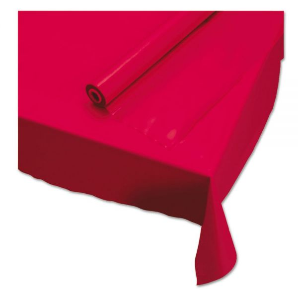 """Hoffmaster Plastic Roll Tablecover, 40"""" x 100 ft, Red"""