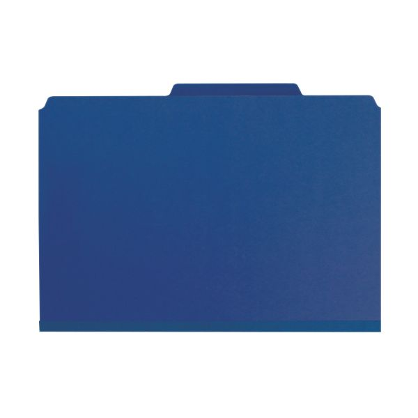 Smead Dark Blue Pressboard Classification Folders with SafeSHIELD Fasteners