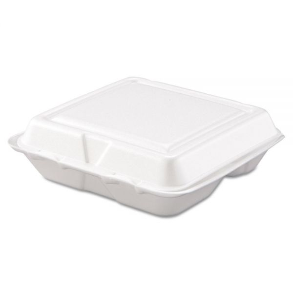 Dart Carryout Food Container, Foam, 3-Comp, White, 8 x 7 1/2 x 2 3/10, 200/Carton