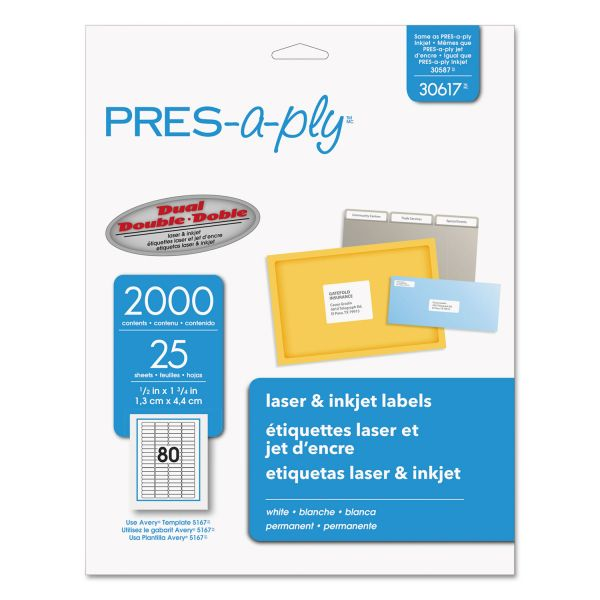 PRES-a-ply Laser Address Labels, 1/2 x 1 3/4, White, 2000/Pack