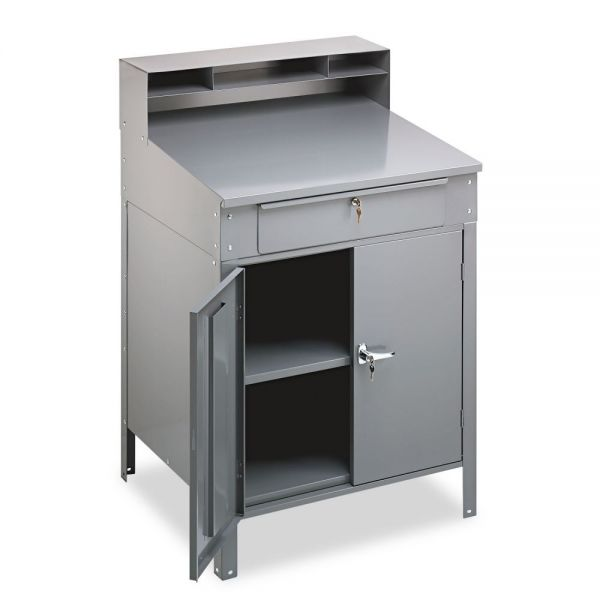 Tennsco Steel Cabinet Shop Desk, 36w x 30d x 53-3/4h, Medium Gray